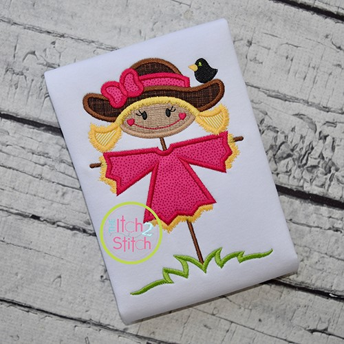 Scarecrow With Crow Girl Applique