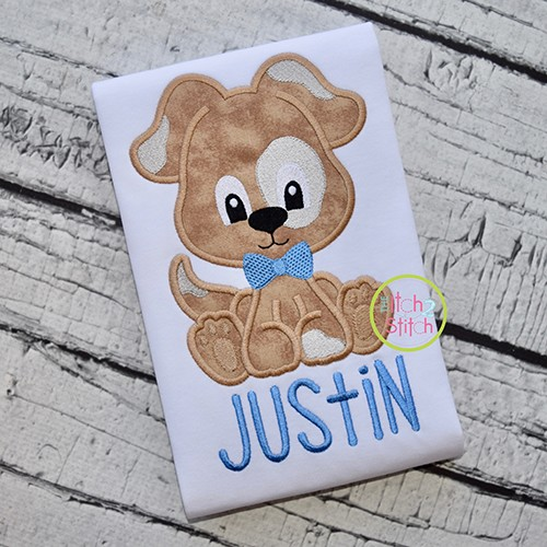 Sitting Dog Boy Applique