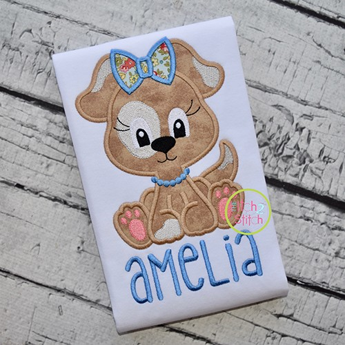 Sitting Dog Girl Applique