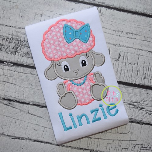 Sitting Lamb Girl Applique