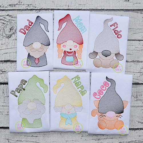Gnome Family Adults and Pets Sketch Embroidery Design