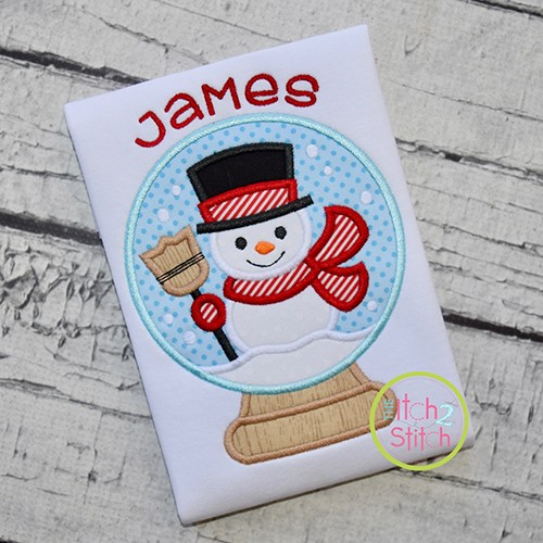 Snow Globe Snowman Applique