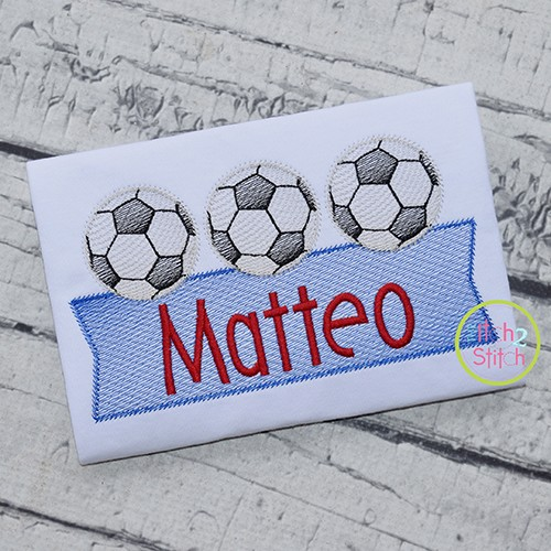 Soccer Ball Trio Banner Sketch Embroidery Design