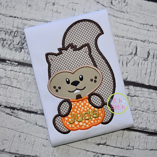 Squirrel with Pumpkin Boy Applique