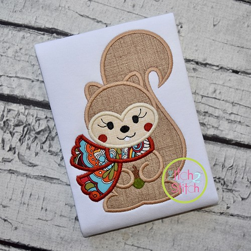 Squirrel with Scarf Girl Applique