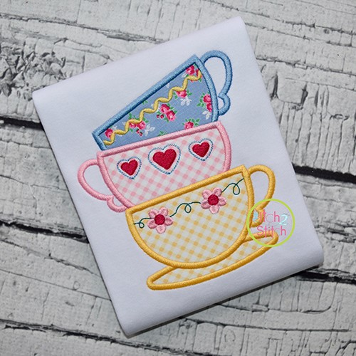 Stacked Tea Cups Applique