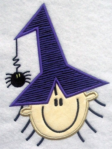 Stick Figure Witch Face Applique