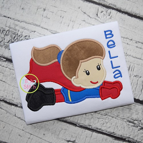 Superhero Flying Girl Applique