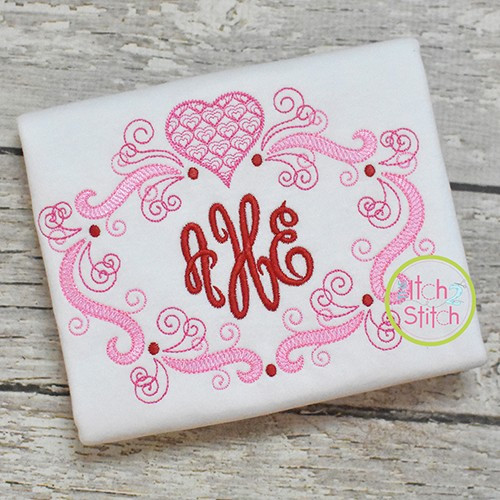 Super Swirly Heart Frame Sketch Embroidery Design