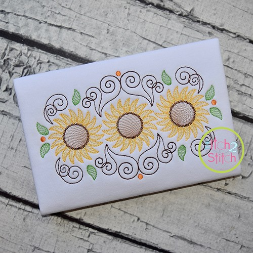 Super Swirly Sunflower Trio Sketch Embroidery