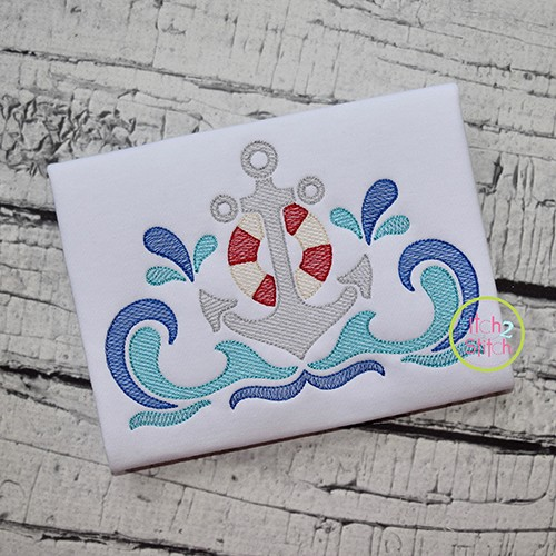 Swirly Anchor Sketch Embroidery