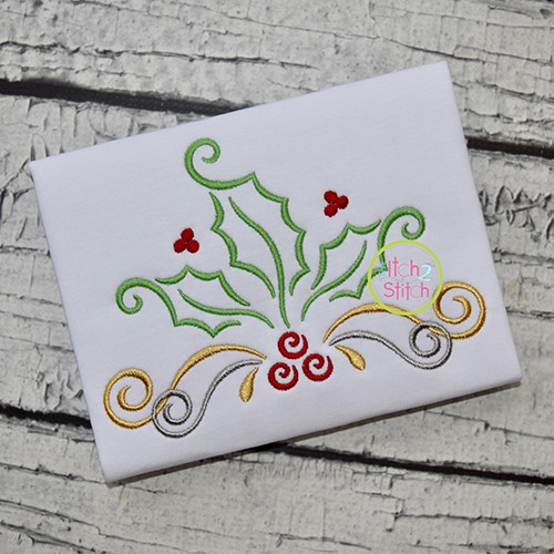 Swirly Holly Berries Embroidery