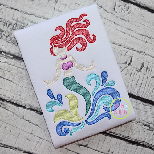 Swirly Mermaid Sketch Embroidery