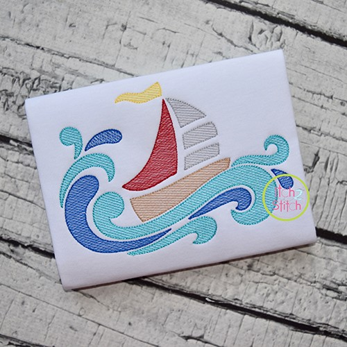 Swirly Sailboat Sketch Embroidery