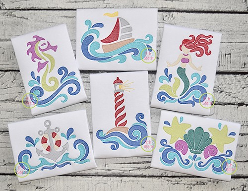 Swirly Seaside Sketch Embroidery Set