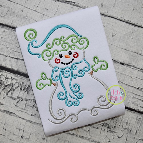 Swirly Snowman Embroidery
