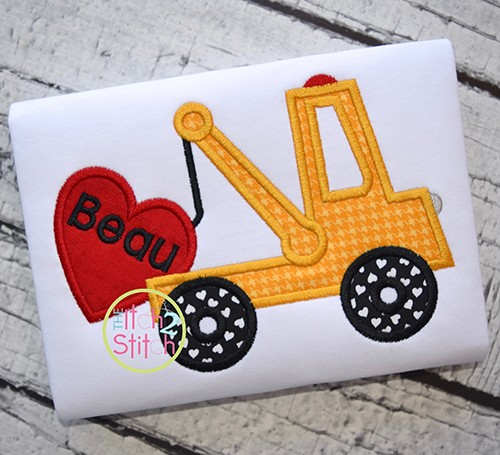 Tow Truck Heart Applique