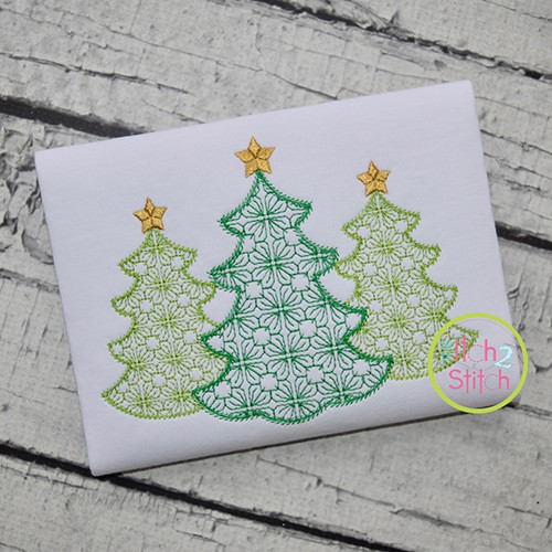 Tree Trio Motif Embroidery