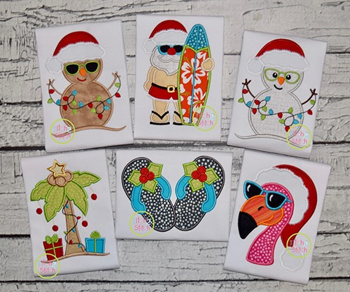 Tropical Christmas Applique Design Set