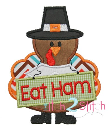 Turkey Eat Ham Applique