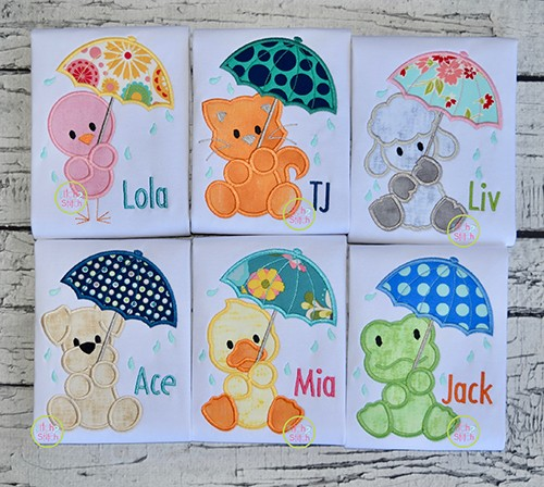 Umbrella Animal Applique Design Set