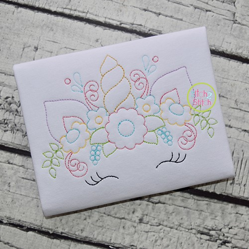 Unicorn Horn Flowers Bean Embroidery