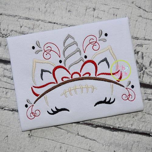 Unicorn Horn Football Embroidery