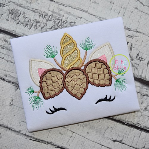 Unicorn Horn Pinecones Applique