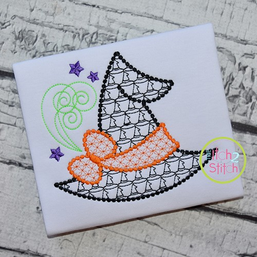 Witch Hat Bow Motif Embroidery